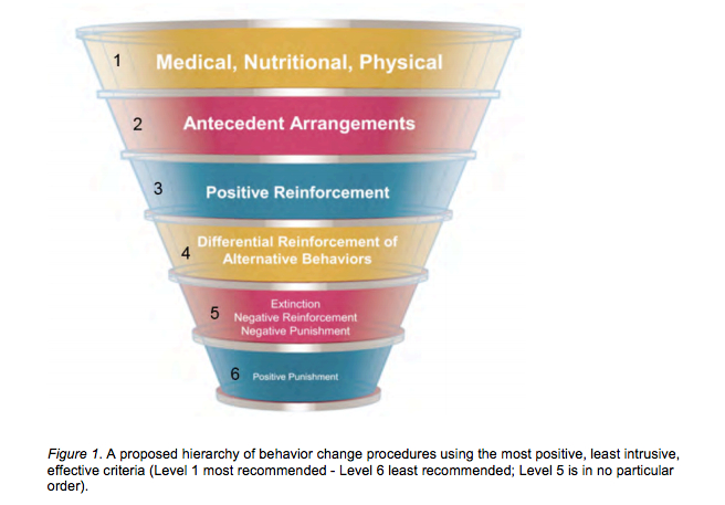 An inverted cone that lists behavioral interventions in order of ethical desirability. Read from the top down. They are: Medical, Nutritional, Physical; Antecedent Arrangments; Positive Reinforcement; Differential Reinforcement of Alternative Behaviors; Extinction, Negative Reinforcement, Negative Punishment; Positive Punishment