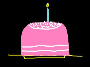 Cartoonish picture of a pink birthday cake with one blue candle on it